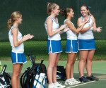 The women's tennis team posted a 13-3 record in the 2011 season. Despite advancing to the CSAC final for the third time in four years, Cabrini fell to Gwynedd-Mercy by a score of 5-3. -- Photo submitted by Cabrini College Athletics Department.