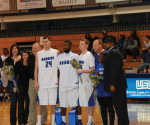 From left to right, seniors John Boyd, Cory Lemons and Greg Zabel are recognized for their accomplishments prior to the start of the game. -- David Alonso / Staff Photographer