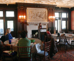 "Stephanie Salinis, campus minister, spoke at the ""Spirituality and You"" event in the Mansion Dining Room on Monday, Feb. 13."