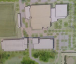 A picture of the plans to expand the Dixon Center. The white spaces are the new additions, the beige building is the current Dixon Center. Photo Credit: Mackenzie Harris / Asst. News Editor