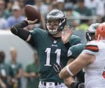 Philadelphia Eagles rookie quarterback Carson Wentz throws a pass against the Cleveland Browns on Sunday, Sept. 11, 2016, at Lincoln Financial Field in Philadelphia, Pa. The Eagles won 29-10. (Clem Murray/Philadelphia Inquirer/TNS)