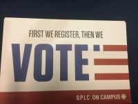A pamphlet encouraging American citizens to register to vote.