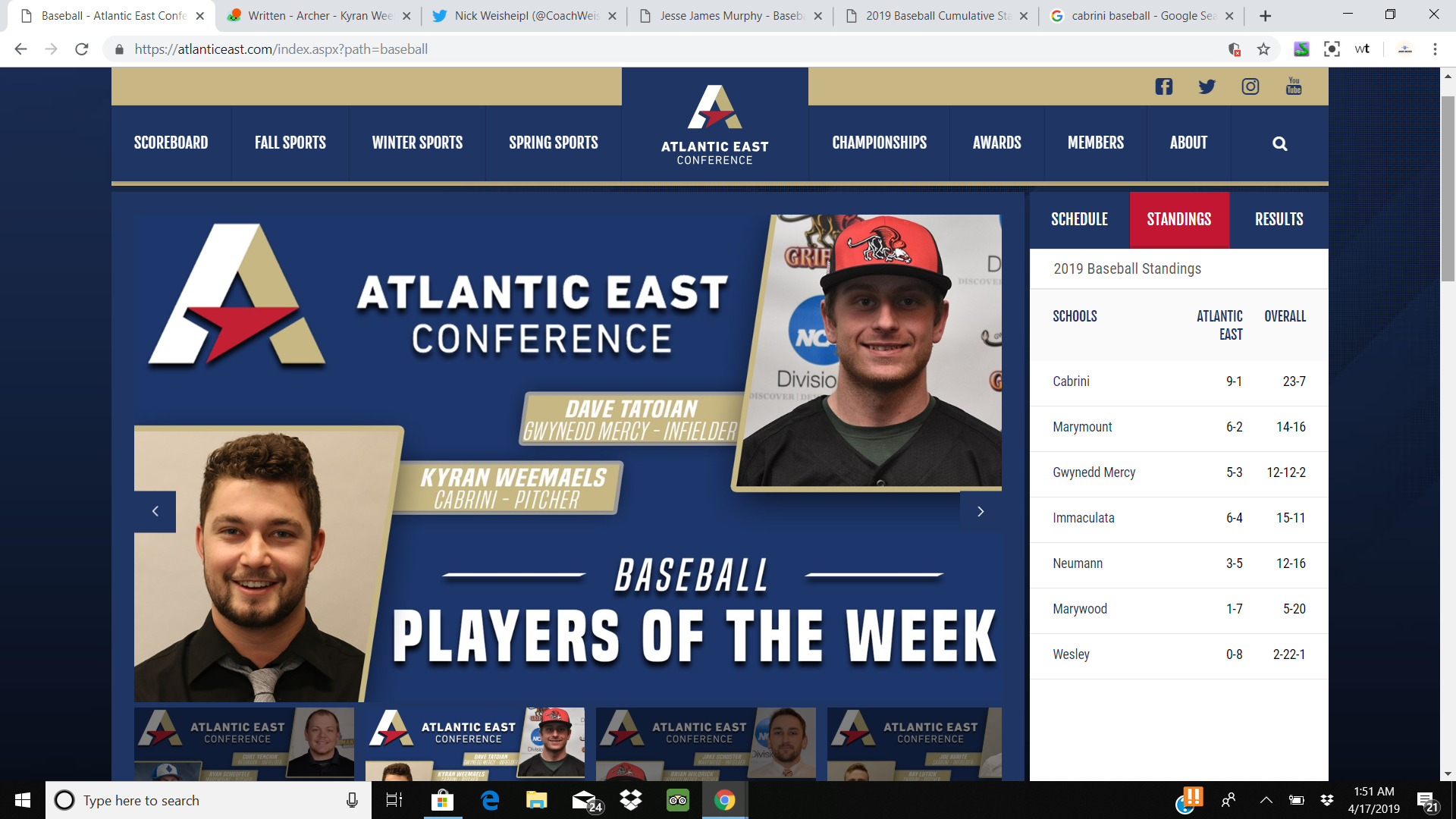 """Weemaels wins AEC """"Pitcher of the week"""""""